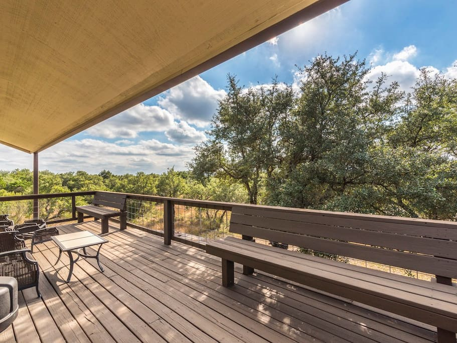 Upstairs back porch with amazing Hill Country views