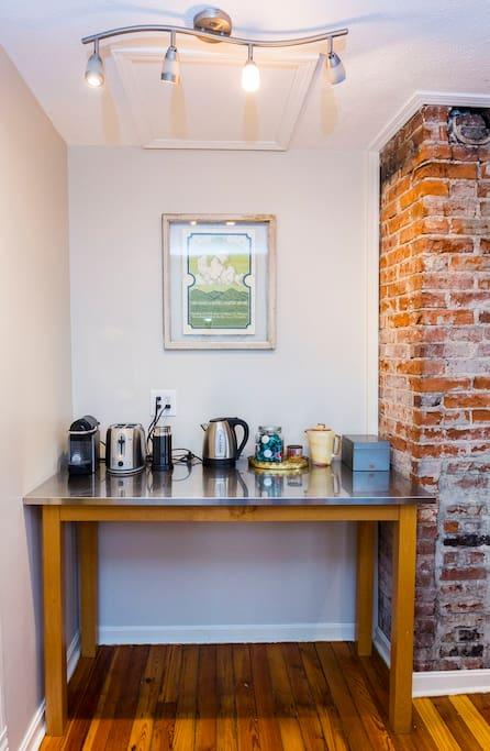 coffee and tea area (nespresso!)