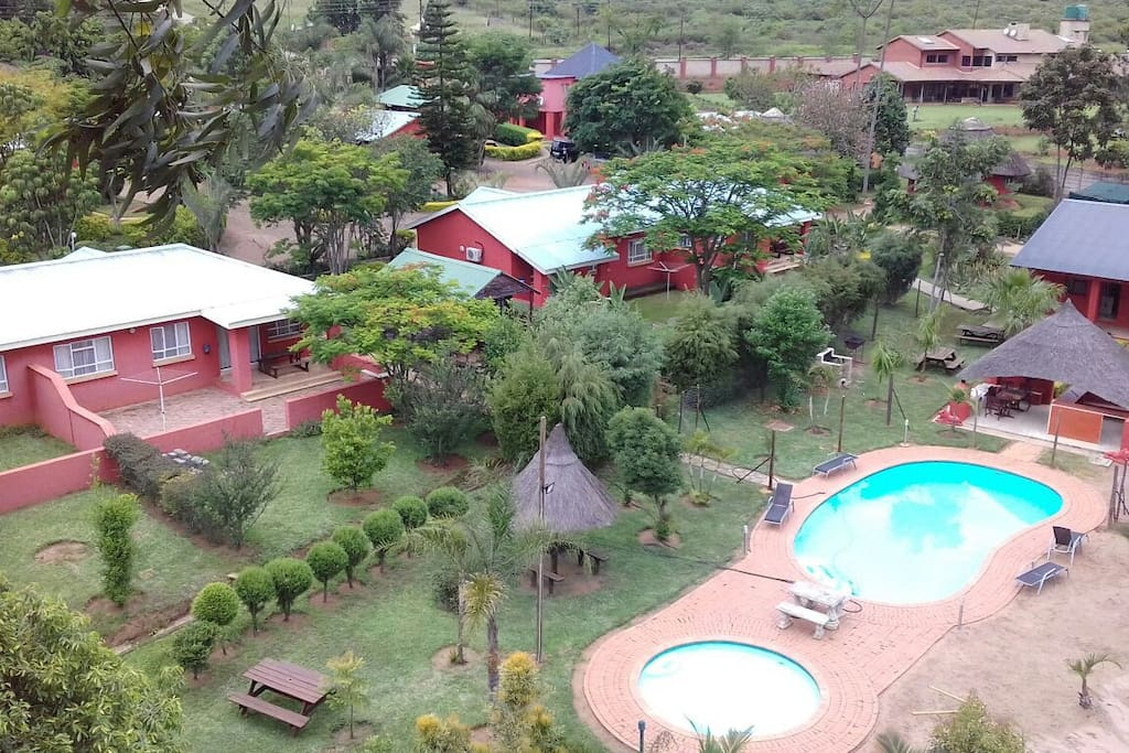 Ariel view of Brookside Lodge, Malkerns