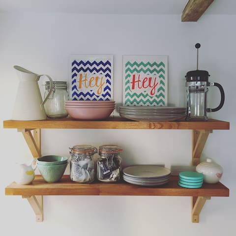 Kitchen Shelves stocked with tea & coffee
