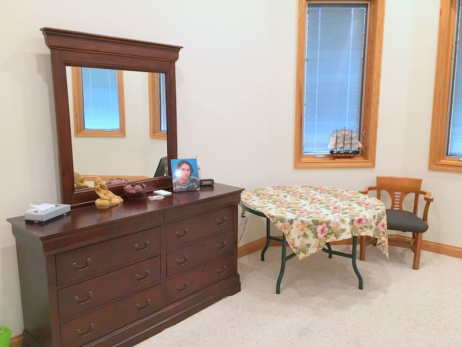 Dresser and Chest. Walk-in closet (not shown) is also for guest use.