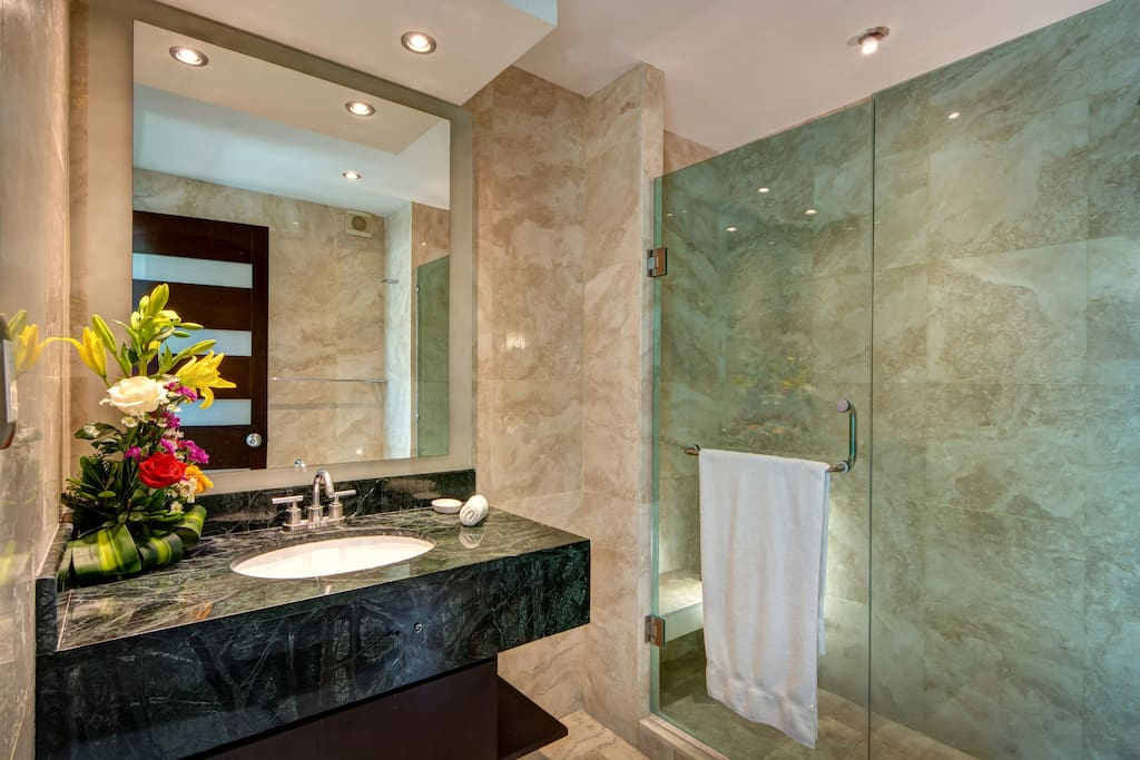 Bathroom 1  Features oversize walk in shower and custom marble and tile accent