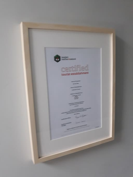 Tourism N.Ireland Approval Certificate