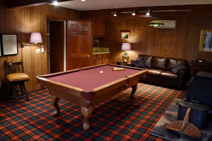 The Scottish room! High-quality pool table, wood-burning stove, and wet bar. Sofa becomes queen bed.