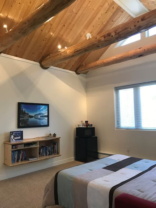 Exposed wood beams in The Loft