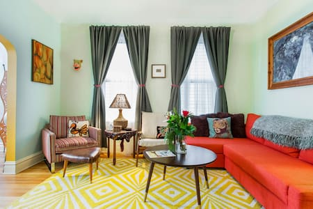Eclectic and Colorful Retro Apartment near Logan Square
