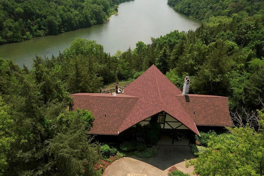 Galena Chalet property is surrounded by forestry and overlooks Lake Galena