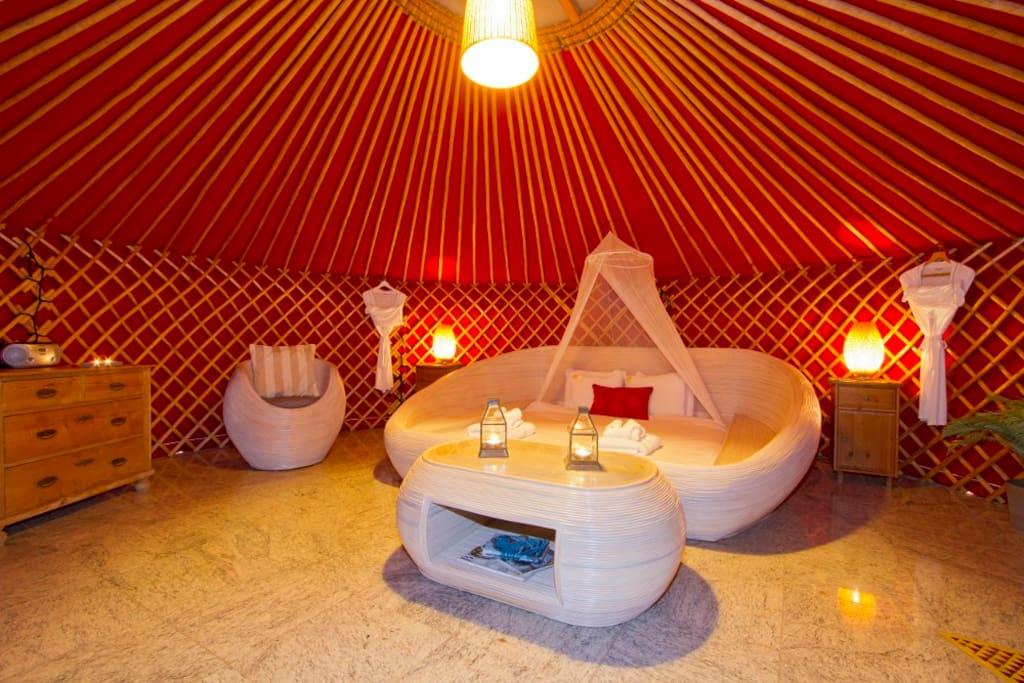 Eco Twin Yurt, inside 6mt yurt pod