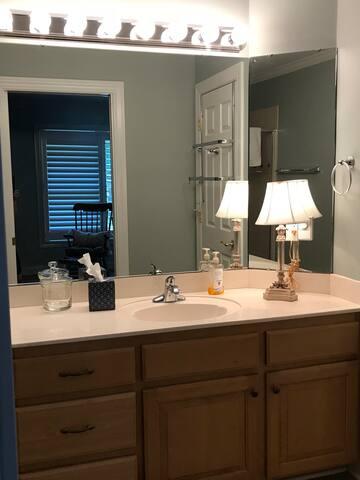 Vanity and sink in bathroom