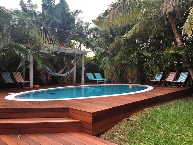 Treasure Island, modern-boho pool home