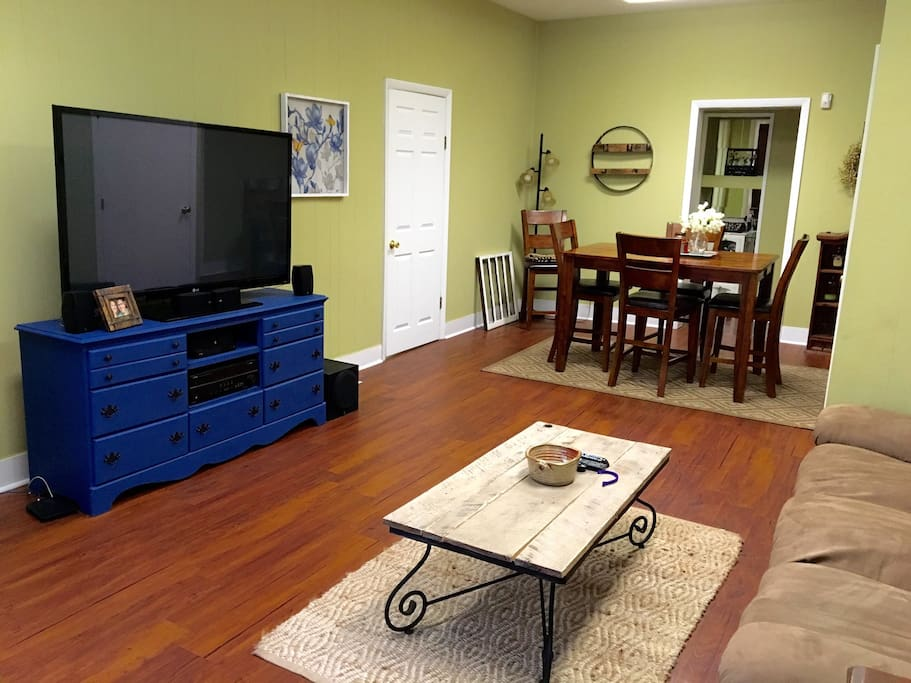 Enjoy access to our living area with a full entertainment center, surround sound, and a 60'' big screen TV.