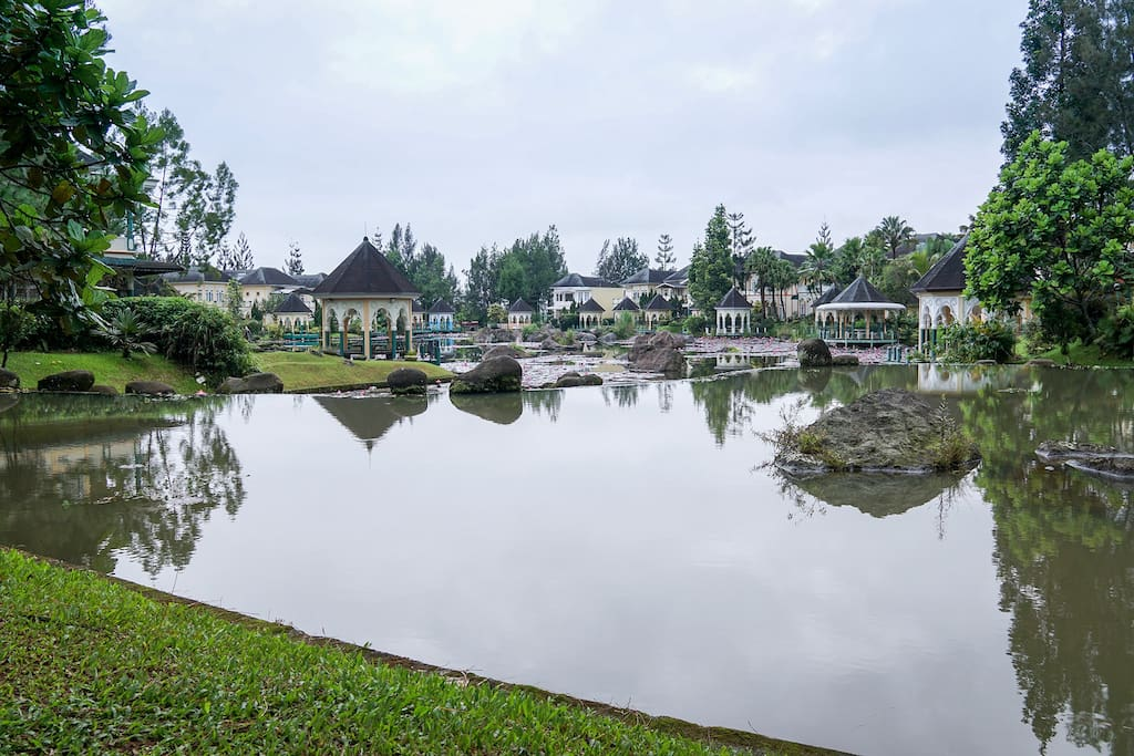 lake in front of the Villa