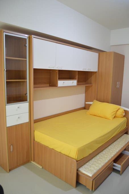 Bed, cabinet and wardrobe