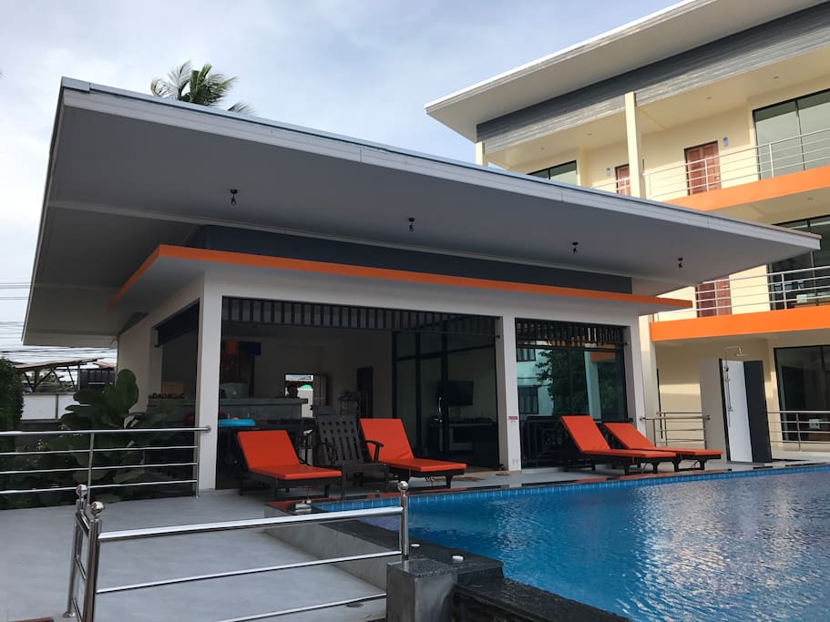 This is reception with pool and solar bed, shower