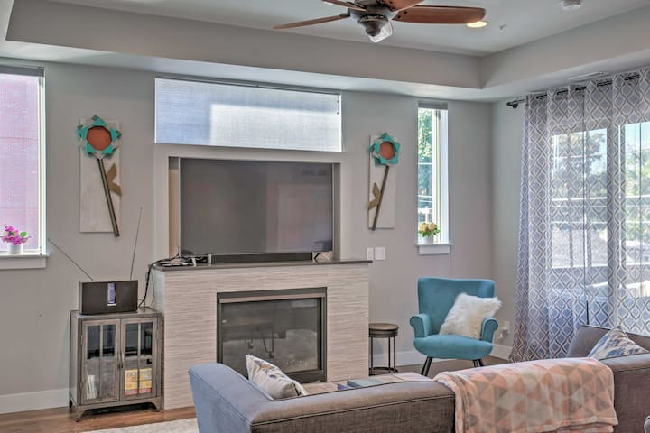 The living room boasts a 65-inch flats-creen 4K HD TV - just one of the perks!