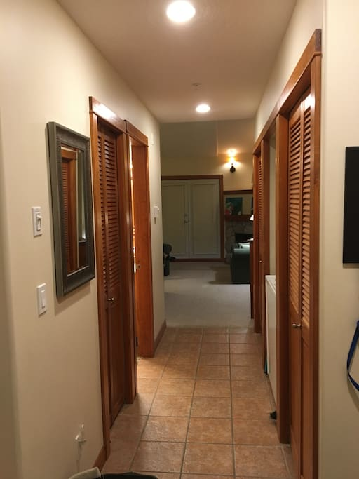 Storage and Laundry in hallway
