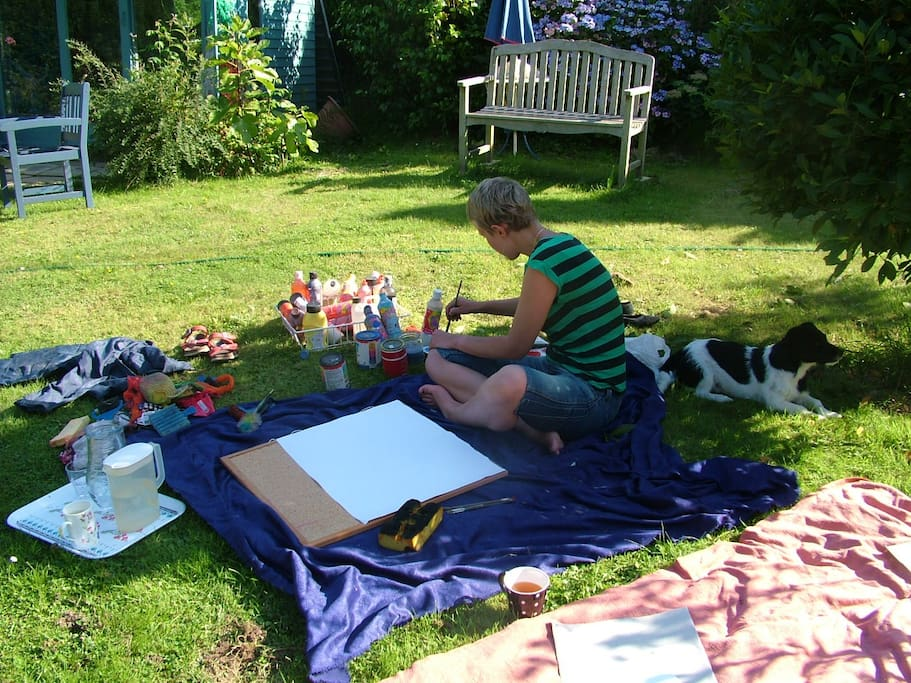 Painting in the garden if you would like to get in touch with your creativity!