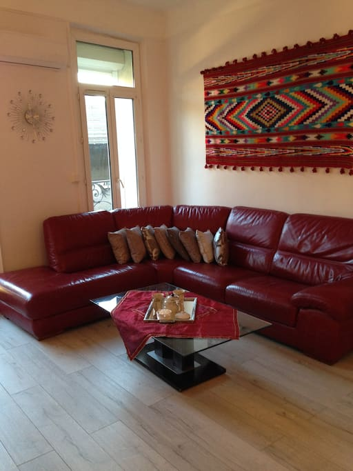 Nice and confortable sofa ,for at least 6 persons.