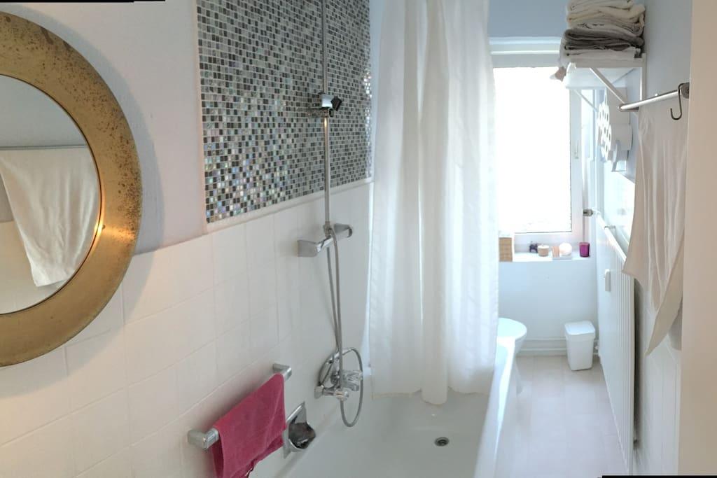 Badezimmer mit Badewanne/ Wasserfalldusche