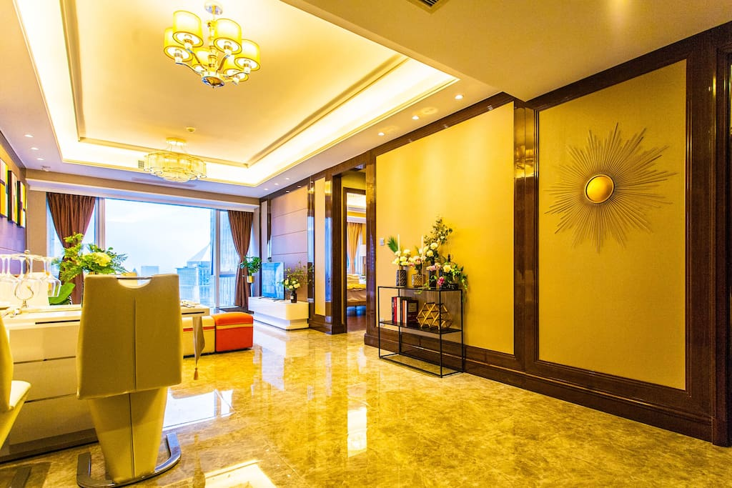 超美的客厅以及绿色的