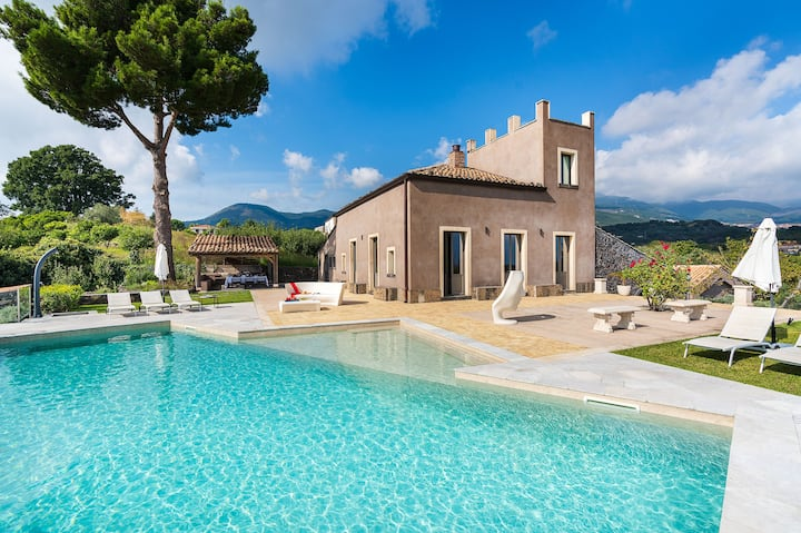 Luxury private villa with sea views and pool on Mt Etna