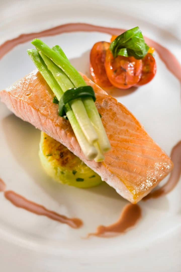 Atlantic Salmon, red wine butter sauce