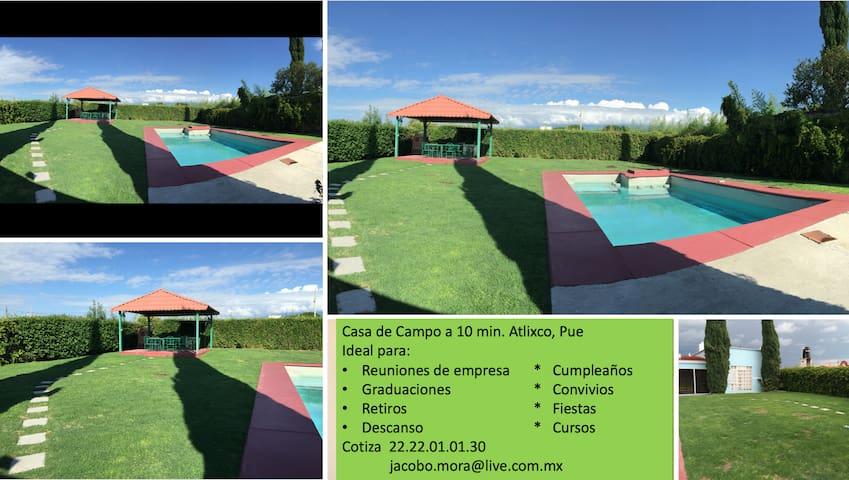 Casa de Campo + Alberca a 10 min. de Atlixco, Pue