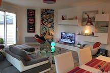 Grand séjour bien équipé avec grand balcon et vue sur seine - TV connectée