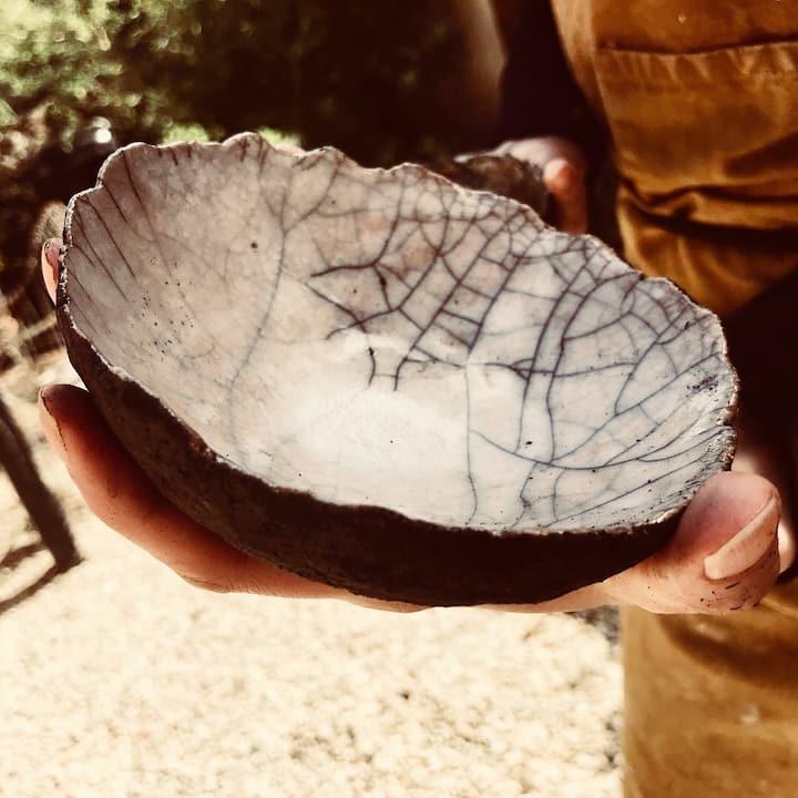 Close of of 'Raku' crackled glaze