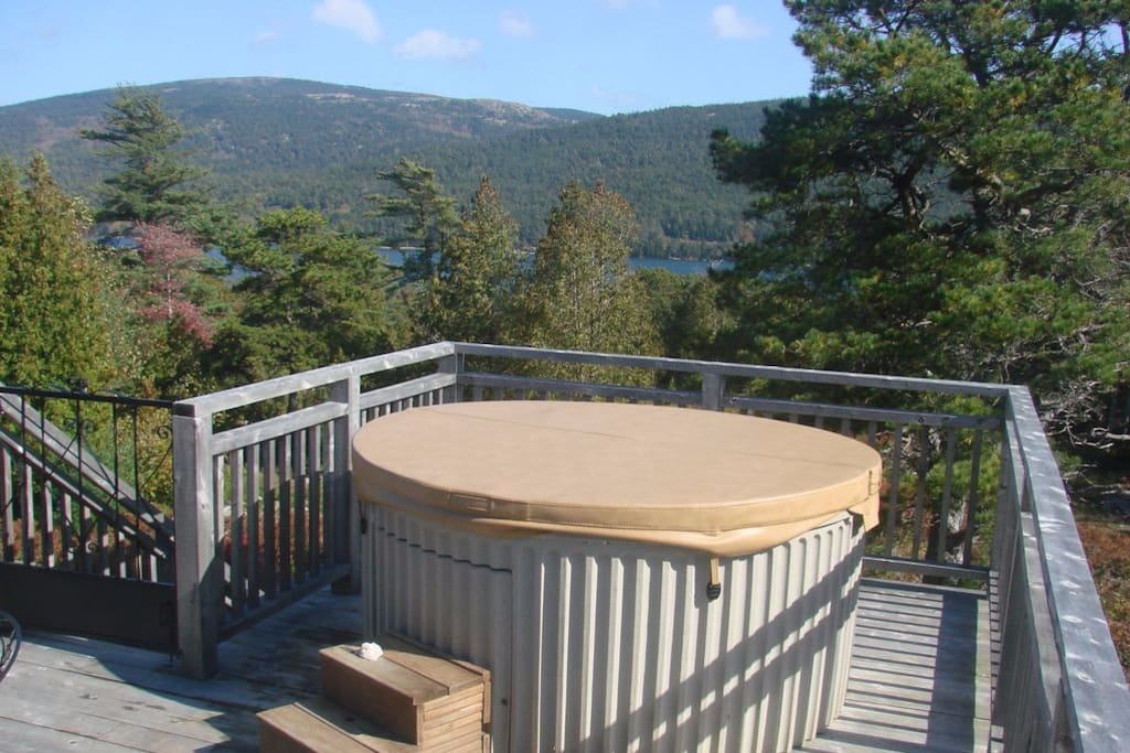 Hot Tub on upper deck overlooking Somes Sound and Acadia National Park Mountains