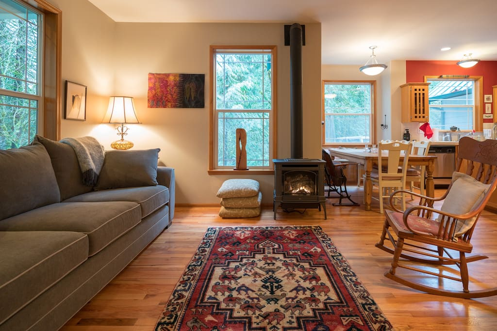 handwoven kilim rugs and artwork by local artists