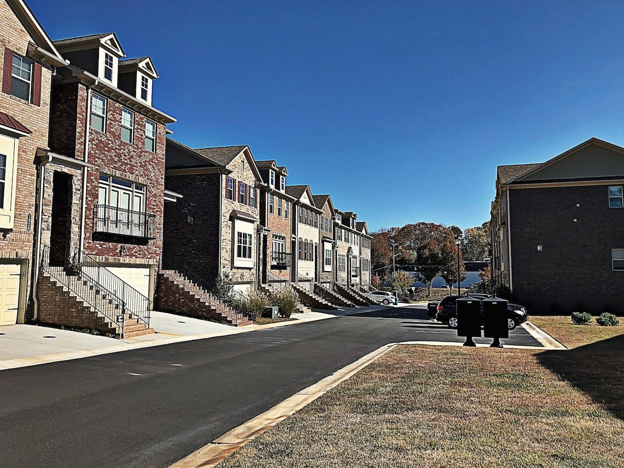 This is the outside of our beautiful town home. There are two guest parking areas with plenty of space to park.
