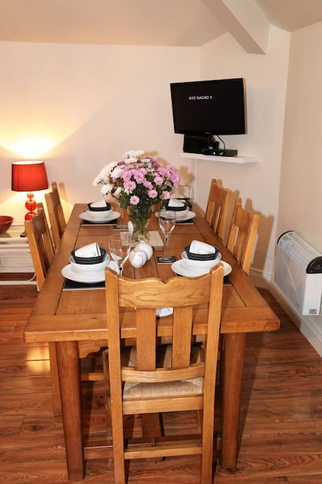 Dine in style. The French Oak dining table and chairs, seats 5 very comfortably.