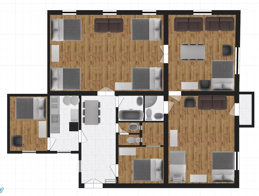 Layout of the 5 bedroom 2.5 BATHROOM apartment