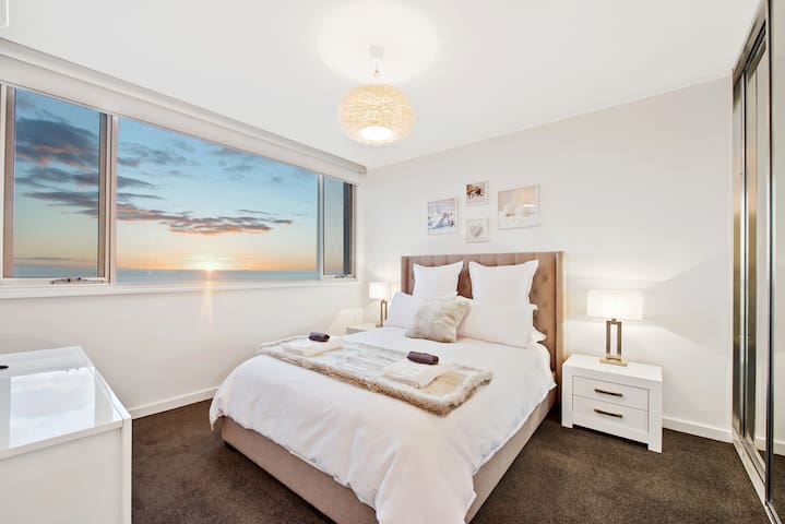 Master Bedroom with spectacular views TV and DVD and mirrored wardrobe