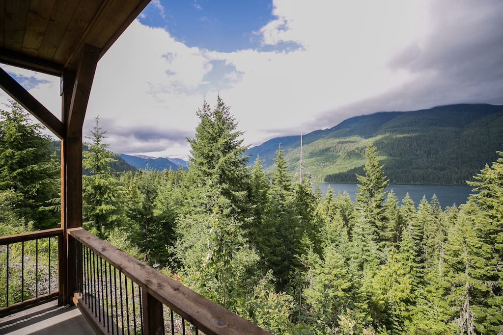 View from porch outside of french doors and master bedroom looking down Lake Kachess.