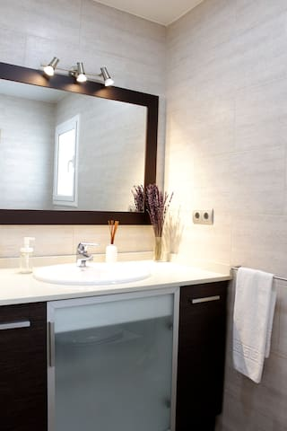 Single room, private bath + terrace in attic duplx