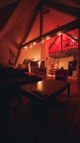 Chambre privée avec terrasse dans Triplex spacieux