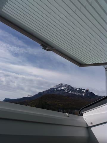 Vue par la fenêtre de toit