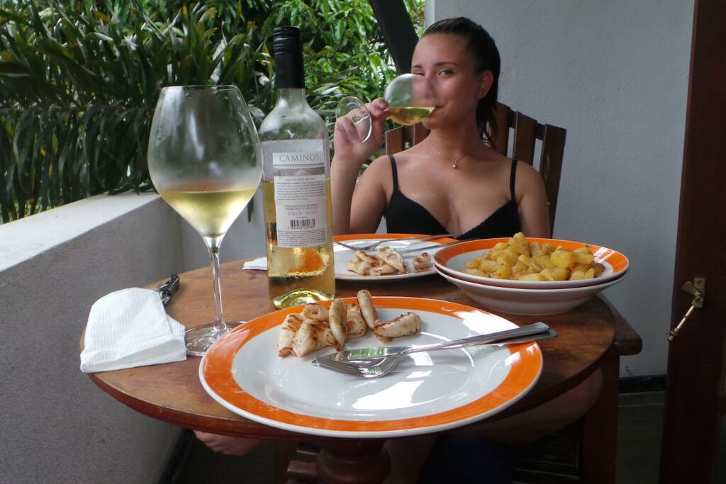 ROMANTIC PRIVATE LUNCH IN BALCONY WITH OUR GUEST VIRGINIA FROM ITALY