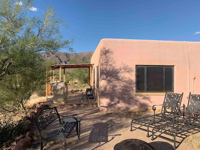Historic Adobe cabin in Gold Canyon views, hiking