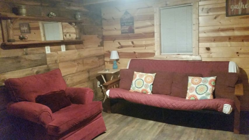 Living room with futon and comfy chair