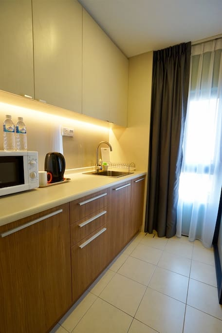 Pantry with Kettle and Microwave Oven