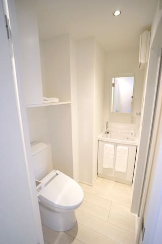 We offer a modern, heated, Japanese toilet.