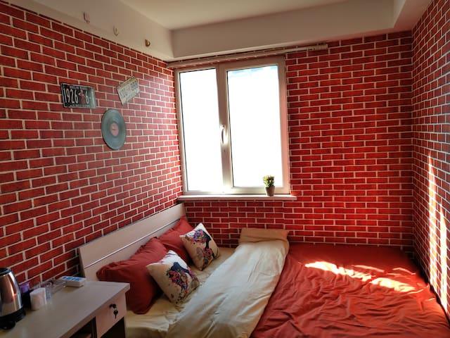 沙河高教园园站 爱巢主题公寓式客栈阳光大床房 - Pequim