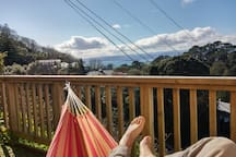 Have a coffee in the morning on the hammock... if the sun wakes up at the same time you do!