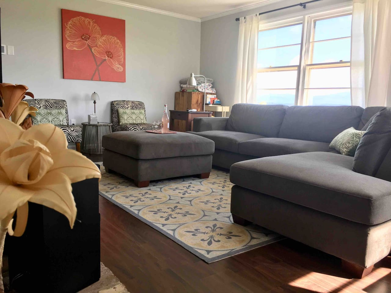 Enter into living room with big windows facing east, sofa and 2 chairs, 55 in hdtv with satellite (including premium movie channels) and dvd player.