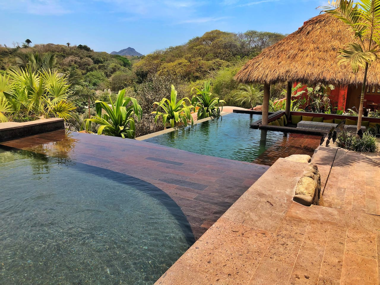 Waterfall pool with a view