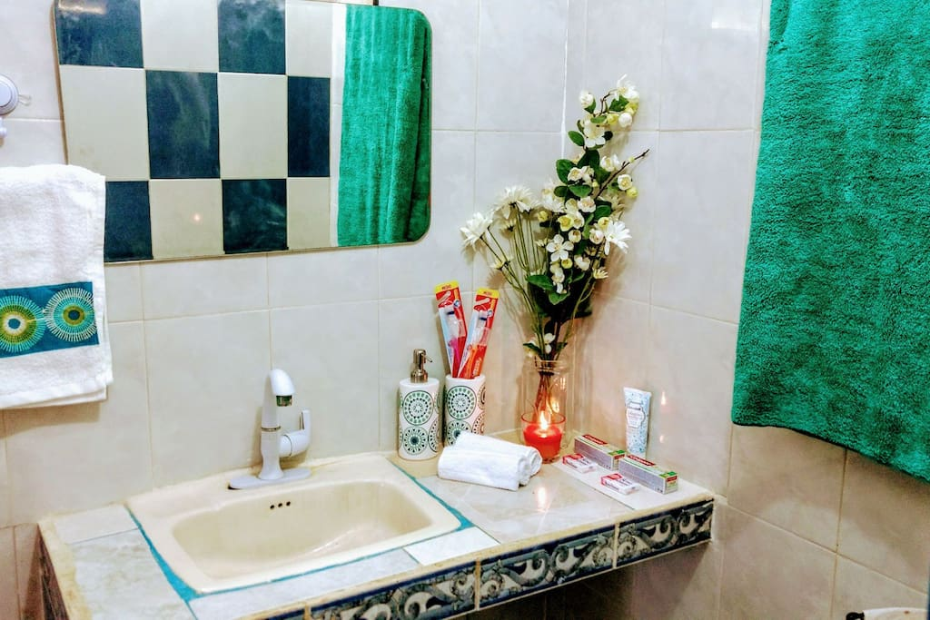 We include toothbrushes, toothpastes, hand lotion, and soaps during your stay. Feel free to light the candle too- it smells AMAZING!