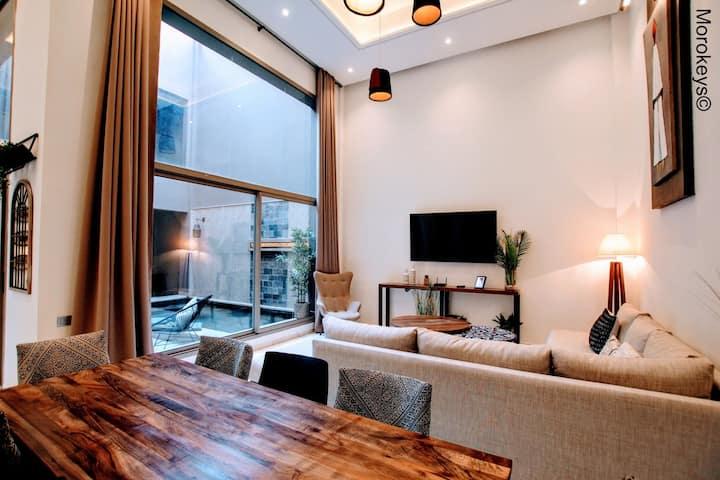 Magnifique duplex en plein Guéliz - Résidence luxe